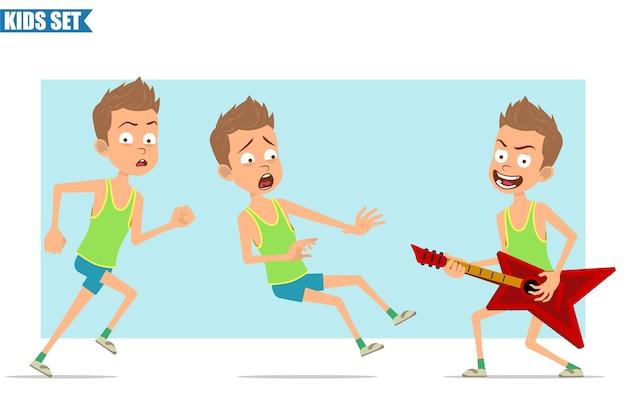 緑のシャツとショートパンツの漫画フラット面白いスポーツ少年キャラクター。ギターを弾き、走ったり、転んだりする子供。