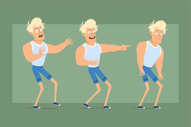 アンダーシャツとショートパンツの漫画フラット面白い強い金髪のスポーツマンのキャラクター。少年は怖くて、悲しくて、疲れていて、邪悪な笑顔を見せています。アニメーションの準備ができました。緑の背景に分離。セットする。