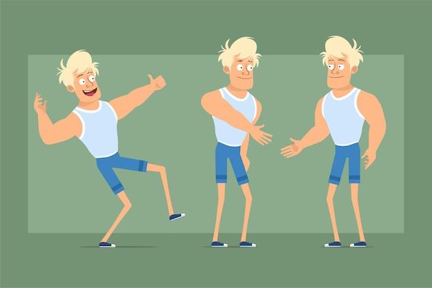 アンダーシャツとショートパンツの漫画フラット面白い強い金髪のスポーツマンのキャラクター。握手し、親指を立てるサインを示す少年。アニメーションの準備ができました。緑の背景に分離。セットする。