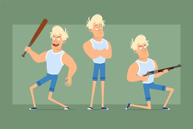 アンダーシャツとショートパンツの漫画フラット面白い強い金髪のスポーツマンのキャラクター。散弾銃から撃ち、野球のバットで戦う少年。アニメーションの準備ができました。緑の背景に分離。セットする。