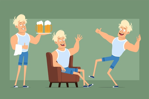 Cartoon flat funny strong blonde sportsman character in undershirt and shorts. boy resting, dancing and carrying beer mugs. ready for animation. isolated on green background. set.