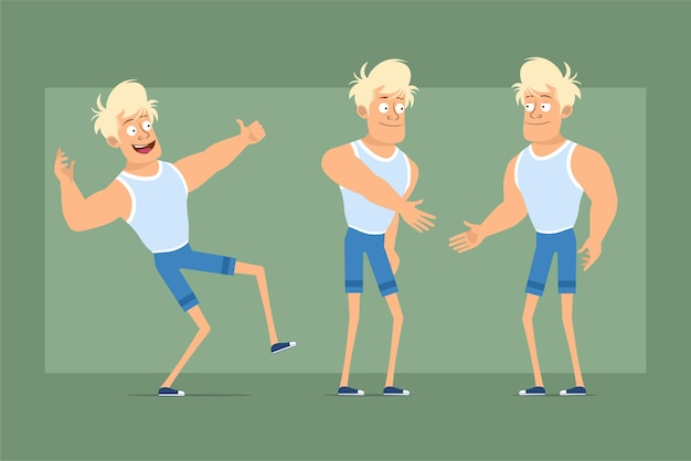 Cartoon flat funny strong blonde sportsman character in undershirt and shorts. boy shaking hands and showing thumbs up sign. ready for animation. isolated on green background. set.