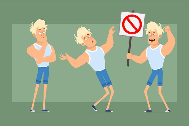 Cartoon flat funny strong blonde sportsman character in undershirt and shorts. boy thinking and holding no entry stop sign. ready for animation. isolated on green background. set.