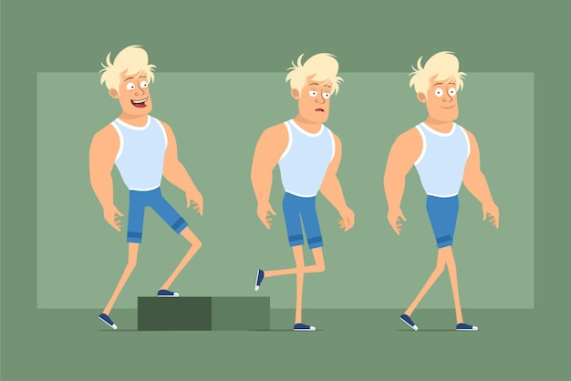 Cartoon flat funny strong blonde sportsman character in undershirt and shorts. successful tired boy walking up to his goal. ready for animation. isolated on green background. set.