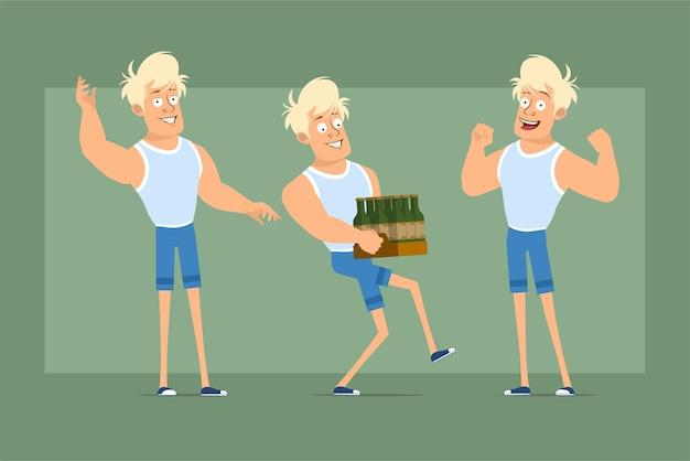 땀 받이와 반바지에 만화 평면 재미 강한 금발의 ssportsman 캐릭터. 근육을 보여주는 맥주 병 상자를 들고 소년. 애니메이션 준비. 녹색 배경에 고립. 세트.