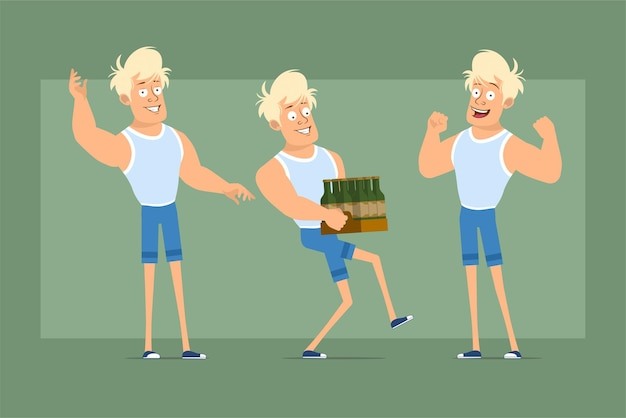 Cartoon flat funny strong blonde ssportsman character in undershirt and shorts. boy showing muscles and carrying box of beer bottles. ready for animation. isolated on green background. set.