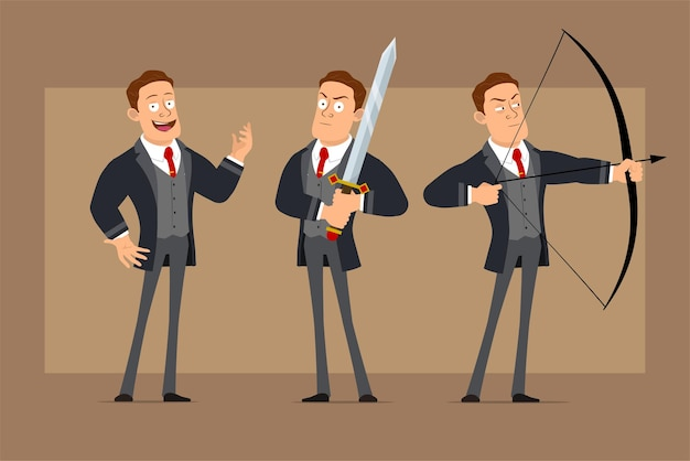 Cartoon flat funny strong business man character in black coat and tie. boy holding big knight sword and shooting from bow with arrow.