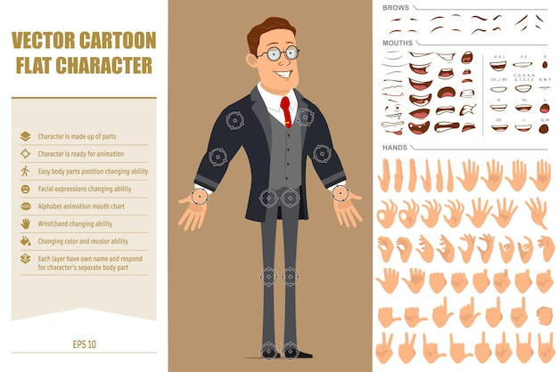 Cartoon flat funny strong business man character in black coat and tie. face expressions, eyes, brows, mouth and hands.