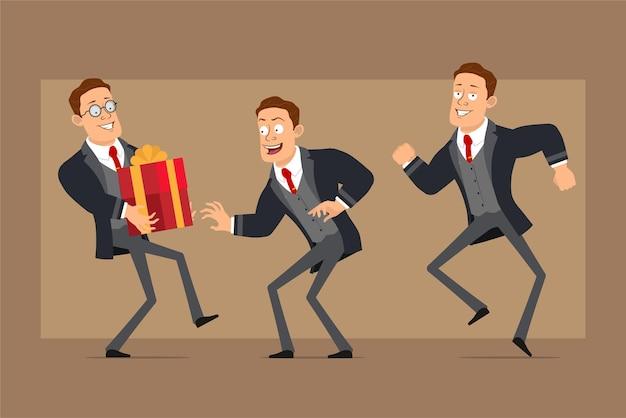검은 코트와 넥타이에 만화 평면 재미 강한 비즈니스 남자 캐릭터. 춤, 몰래, 휴일 선물 상자를 들고 소년.