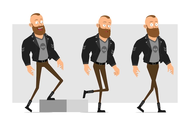 Cartoon flat funny strong character bearded punk man with mohawk in leather jacket. successful boy walking up to his goal.