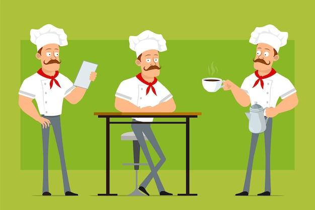 만화 플랫 재미 강한 요리사 요리사 흰색 유니폼과 베이커 모자에 남자 캐릭터. 소년 커피 주전자 냄비와 컵 접시에.
