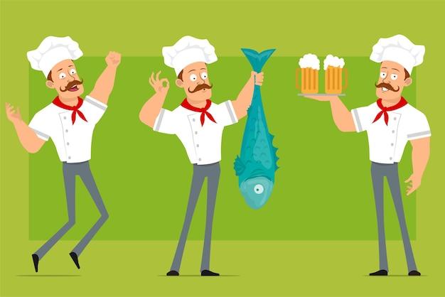 白い制服とパン屋の帽子の漫画フラット面白い強いシェフ料理人のキャラクター。冷たいビールで大きな魚とトレイを保持している少年。