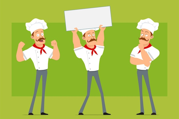 Мультяшный плоский смешной сильный шеф-повар повар человек персонаж в белой форме и шляпе пекаря. мальчик держит пустой знак и показывает мышцы.