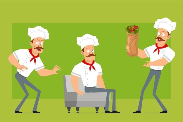 만화 플랫 재미 강한 요리사 요리사 흰색 유니폼과 베이커 모자에 남자 캐릭터. 쉬고 맛있는 케밥 shawarma를 들고 소년.
