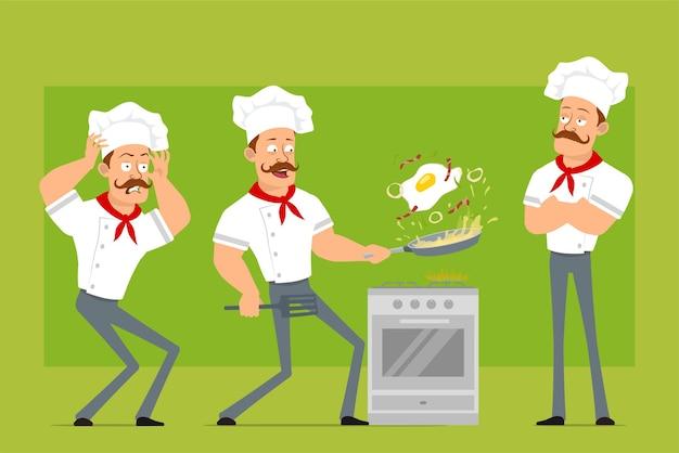만화 플랫 재미 강한 요리사 요리사 흰색 유니폼과 베이커 모자에 남자 캐릭터. 소년은 무서워하고 베이컨과 함께 튀긴 계란을 요리합니다.