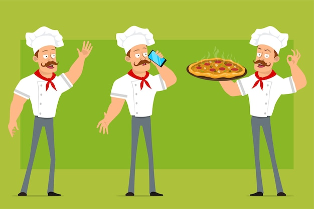 Cartoon flat funny strong chef cook man character in white uniform and baker hat. boy carrying pizza with salami and talking on phone.