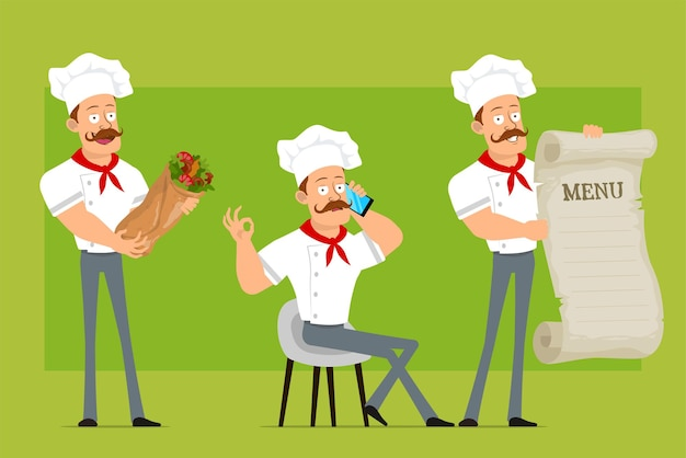 Cartoon flat funny strong chef cook man character in white uniform and baker hat. boy talking on phone, holding menu and kebab shawarma.