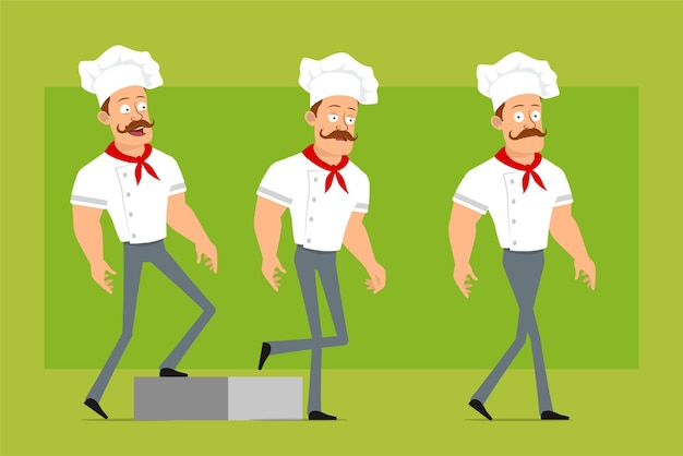 Cartoon flat funny strong chef cook man character in white uniform and baker hat. successful tired boy walking forward to his goal.