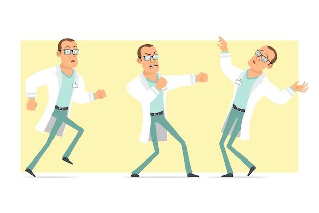 흰색 유니폼과 안경에 만화 평면 재미 강한 의사 남자 캐릭터. 실행, 싸움 및 아래로 떨어지는 소년. 애니메이션 준비. 노란색 배경에 고립. 세트.