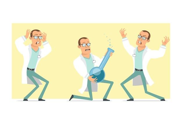 흰색 유니폼과 안경에 만화 평면 재미 강한 의사 남자 캐릭터. 무서워하고 액체와 화학 플라스 크를 들고 소년. 애니메이션 준비. 노란색 배경에 고립. 세트.
