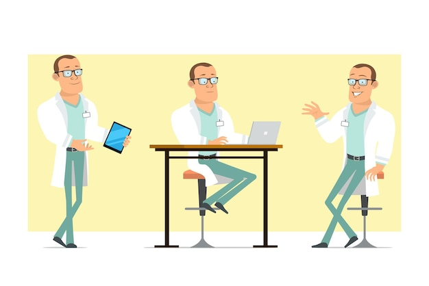 白い制服とメガネの漫画フラット面白い強い医者の男のキャラクター。ノートパソコンで作業し、スマートタブレットを保持している少年。アニメーションの準備ができました。黄色の背景に分離。セットする。