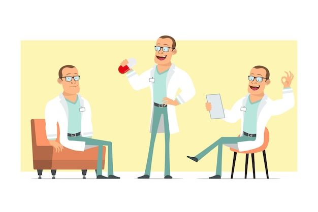 Cartoon flat funny strong doctor man character in white uniform and glasses. boy holding big pill and resting on sofa. ready for animation. isolated on yellow background. set.