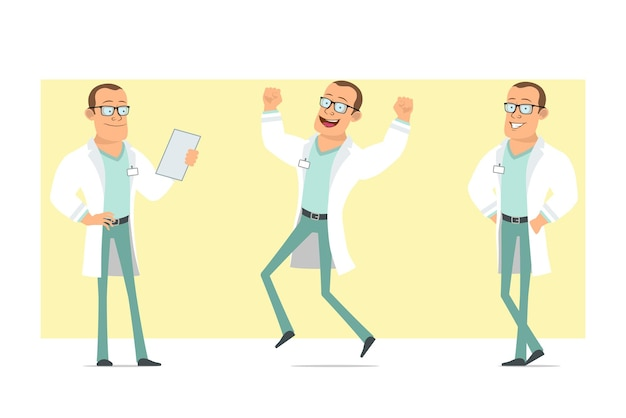 Cartoon flat funny strong doctor man character in white uniform and glasses. boy jumping, posing and reading document. ready for animation. isolated on yellow background. set.
