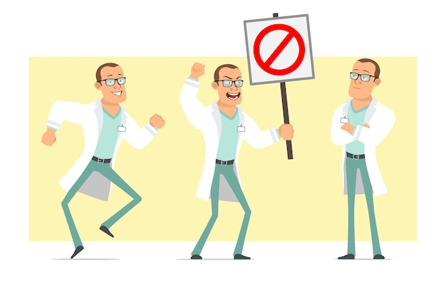 Cartoon flat funny strong doctor man character in white uniform and glasses. boy posing and holding no entry stop sign. ready for animation. isolated on yellow background. set.