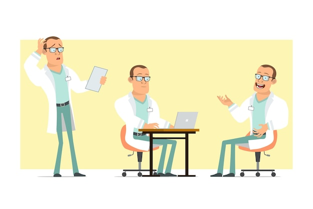Cartoon flat funny strong doctor man character in white uniform and glasses. boy reading note and working on laptop. ready for animation. isolated on yellow background. set.