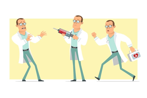Cartoon flat funny strong doctor man character in white uniform and glasses. boy running and holding medical syringe. ready for animation. isolated on yellow background. set.