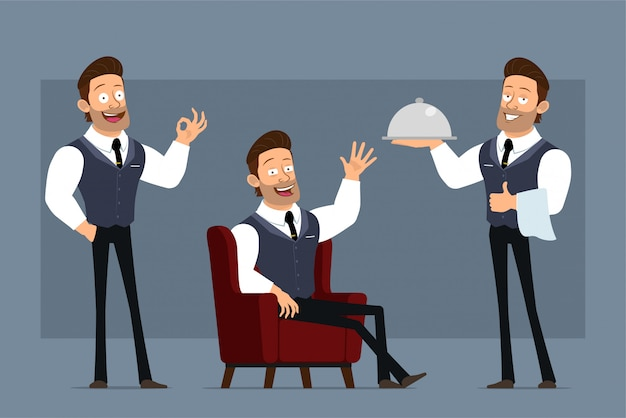 Cartoon flat funny strong muscular businessman character with black tie. ready for animations. boy waiter with metal tray showing thumbs up gesture. isolated on gray background. big icon set.