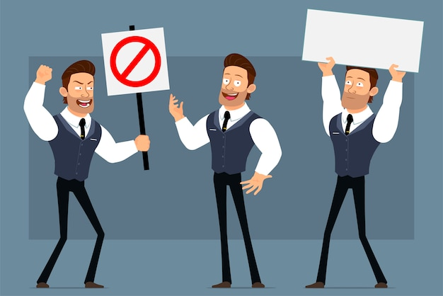 Cartoon flat funny strong muscular businessman character with black tie. ready for animations. rebel boy with stop, no entry and empty blank sign. isolated on gray background. big icon set.