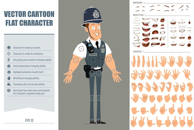 Cartoon flat funny strong policeman character in bulletproof vest with radio set. face expressions, eyes, mouth and hands.