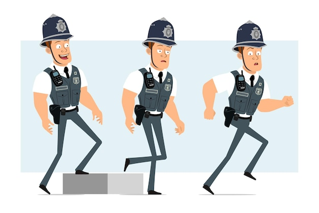 Cartoon flat funny strong policeman character in bulletproof vest with radio set. successful tired boy walking up to his goal.
