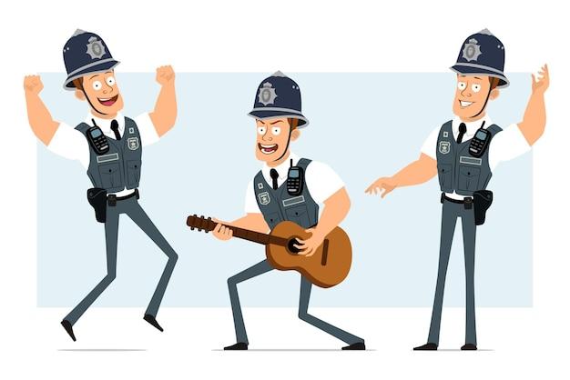Мультяшный плоский забавный сильный полицейский персонаж в пуленепробиваемом жилете с радиоприемником. мальчик прыгает, танцует и играет на гитаре.
