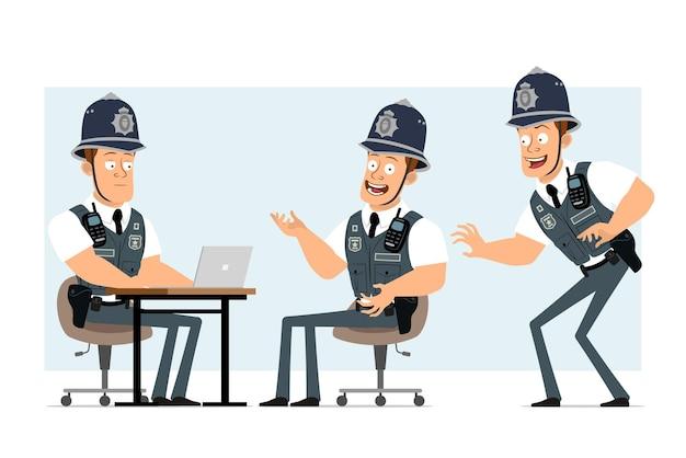 라디오 세트와 방탄 조끼에 만화 평면 재미 강한 경찰관 캐릭터. 소년 포즈와 노트북에서 작업입니다.