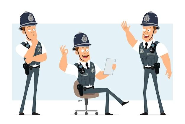 Мультяшный плоский забавный сильный полицейский персонаж в пуленепробиваемом жилете с радиоприемником. мальчик читает документ и показывает нормальный жест.
