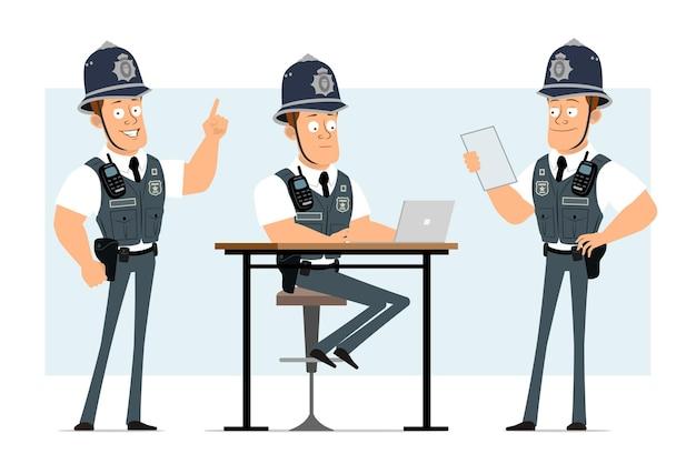 라디오 세트와 방탄 조끼에 만화 평면 재미 강한 경찰관 캐릭터. 노트를 읽고 노트북에서 일하는 소년.