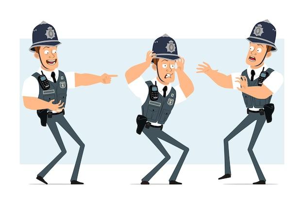 ラジオセット付き防弾チョッキの漫画フラット面白い強い警官のキャラクター。少年は悲しく、疲れて、笑って、怖がっています。