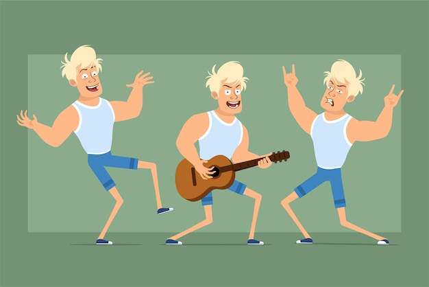 Cartoon flat funny strong sportsman character in undershirt and shorts. boy dancing, playing on guitar and showing rock and roll sign. ready for animation. isolated on green background. set.