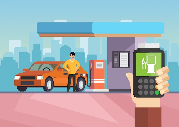 Cartoon flat gas station. purchase of gasoline.