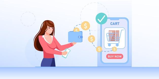 Мультяшный плоский персонаж девушки переводит деньги онлайн с помощью мобильного приложения