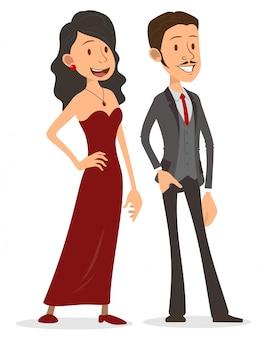 漫画のフラットハンサムな女性と紳士のキャラクター