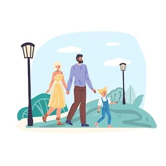Молодые люди пара, мама, папа и ребенок, прогулки на свежем воздухе в городском парке, эмоции, отношения, здоровая семья, веб-баннер, социальная концепция