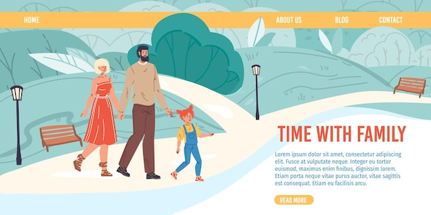 Мультяшные плоские счастливые семейные персонажи гуляют