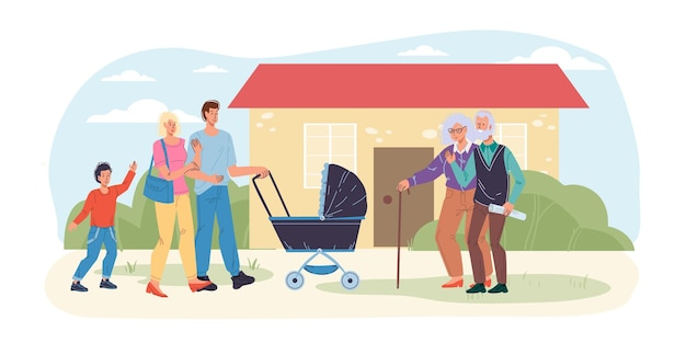 Cartoon flat happy family characters with baby carriage meet grandparents