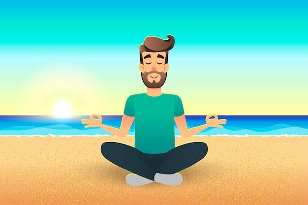 Мультфильм плоский счастливый человек сидит на пляже и медитирует