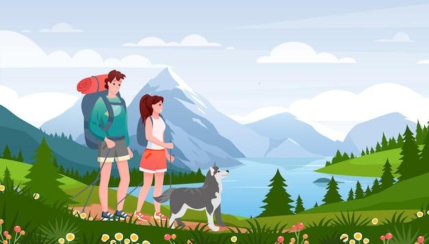 漫画フラット幸せな旅行者女性男性カップルとペットの友人の散歩道
