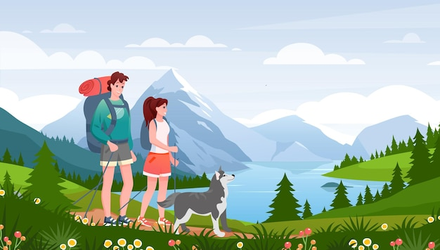 Cartoon flat happy traveler woman man couple and pet friend walk path