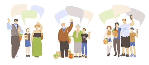 Cartoon flat illustration of happy families, waving hands, showing ok sign, holding zero waste products in hands with speech bubbles above. zero waste ecology and save planet family concept